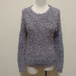 3for$20 soft fuzzy sweater gray silver glitter